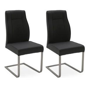 Vida Living Luciana High Gloss & Marble Charcoal Dining Chair Pair