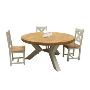 Vida Living Monroe Grey & Oak Furniture 160cm Round Dining Table