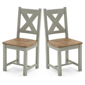 Vida Living Monroe Grey & Oak Furniture Dining Chair Pair