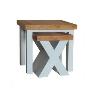 Vida Living Monroe Grey & Oak Furniture Nest Of 2 Tables