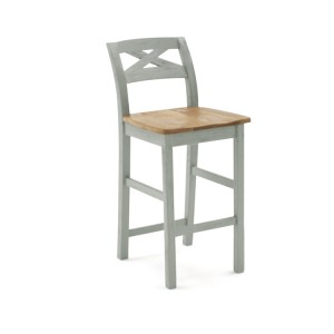 Vida Living Monroe Grey & Oak Furniture Solid Seat Bar Chair