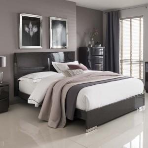 Vida Living Movada High Gloss Grey 4ft6 Double Bed