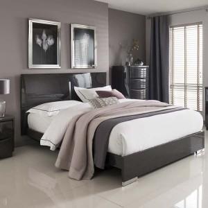Vida Living Movada High Gloss Grey 5ft Kingsize Bed