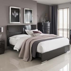 Vida Living Movada High Gloss Grey 6ft Super Kingsize Bed
