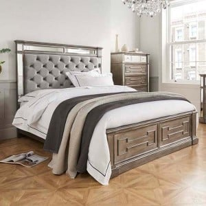 Vida Living Ophelia Silver & Mirrored 5ft Kingsize Bed