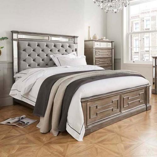 Vida Living Ophelia Silver & Mirrored 5ft Kingsize Bed