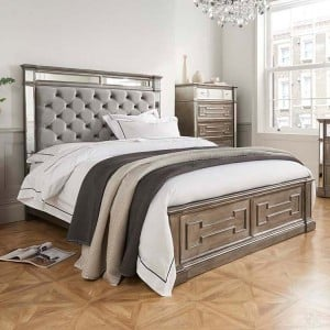 Vida Living Ophelia Silver & Mirrored 6ft Super Kingsize Bed