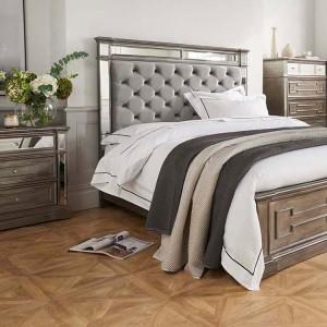 Vida Living Ophelia Silver & Mirrored Bedside Table