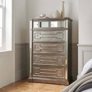 Vida Living Ophelia Silver & Mirrored Tall Chest