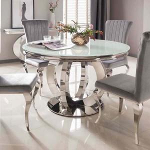 Vida Living Orion Chrome & Glass Round Dining Table