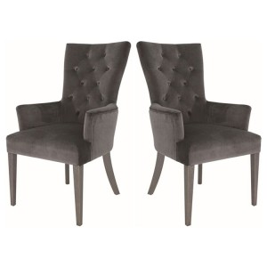 Vida Living Pembroke Velvet Arm Chair Charcoal Pair