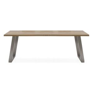 Vida Living Trier European Oak & Stainless Steel 210cm Dining Table