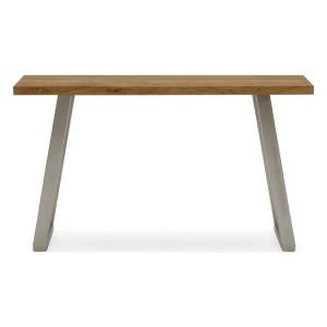 Vida Living Trier European Oak & Stainless Steel Console Table