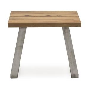 Vida Living Trier European Oak & Stainless Steel Lamp Table