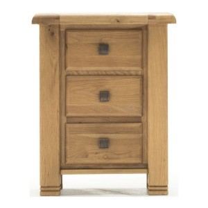 Vida Living York Oak Furniture 3 Drawer Nightstand