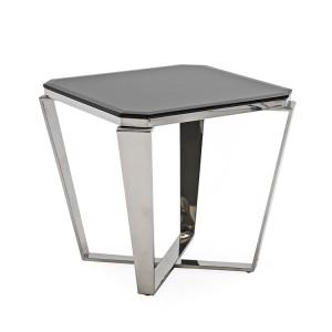 Vida Living Zola Stainless Steel & Glass Lamp Table