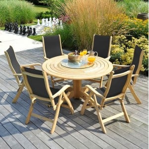 Alexander Rose Roble Garden 6 Charcoal Sling Chair & Round Table Set
