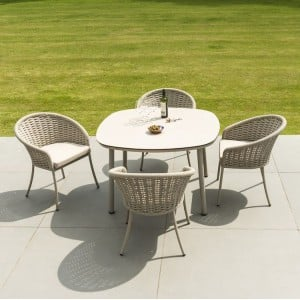 Alexander Rose Cordial Beige 1.2m Roble Top Dining Table & 4 Armchair Set