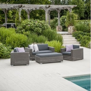 Alexander Rose Monte Carlo 3 Seat Rattan Lounge Set with Ottoman