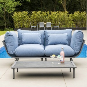 Alexander Rose Beach Garden Flint 2 Seater Sofa & Pebble Coffee Table