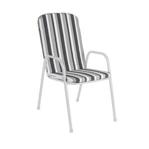 Alexander Rose Portofino Garden Charcoal Stripe Cushion For High Back Chair