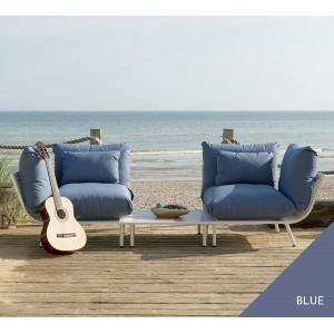 Alexander Rose Beach Garden Shell 2 Seater Split Sofa & Side Table