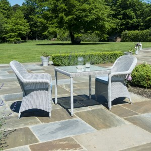 Alexander Rose Classic White Garden 2 Armchairs & Square Table Set