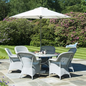 Alexander Rose Classic White Garden 6 Armchairs & Round Table Set