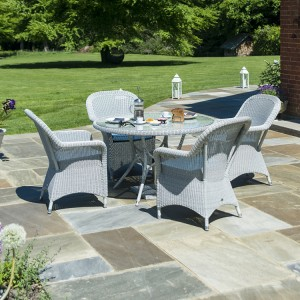 Alexander Rose Classic White Garden 4 Armchairs & Round Table Set