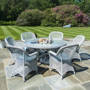 Alexander Rose Classic White Garden 6 Open Weave Chairs & Round Table