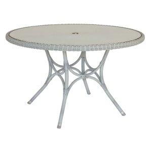 Alexander Rose Classic White Garden 1.25m Glass Top Table