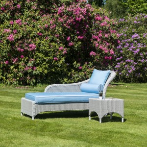 Alexander Rose Classic White Garden Chaise Longue And Side Table Set