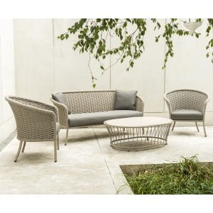 Alexander Rose Cordial Garden Beige Lounge Set With Laminate Table