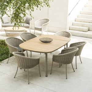 Alexander Rose Cordial Garden Beige 2m Roble Top Table & 6 Armchairs