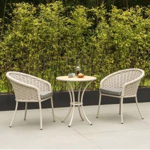 Alexander Rose Cordial Garden Beige 2 Seater Roble Bistro Dining Set