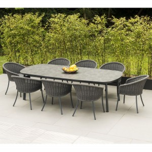 Alexander Rose Cordial Grey 2.7m Pebble Top Dining Table & 8 Armchair Set