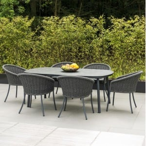 Alexander Rose Cordial Grey 2m Pebble Top Dining Table & 6 Armchair Set