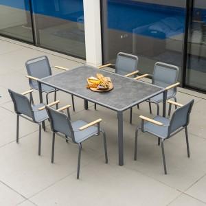 Alexander Rose Fresco Garden Flint 6 Sling Armchair & Pebble Table
