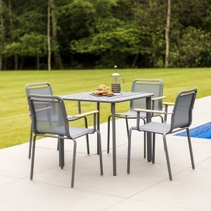 Alexander Rose Fresco Garden Flint 4 Sling Armchair & Aluminium Table