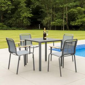 Alexander Rose Fresco Garden Flint 4 Sling Armchair & Pebble Table