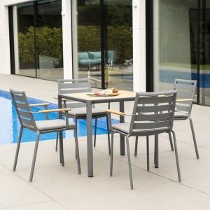 Alexander Rose Fresco Garden Flint 4 Stacking Armchair & Roble Table