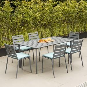 Alexander Rose Fresco Garden Flint 6 Side Chair & Aluminium Table Set