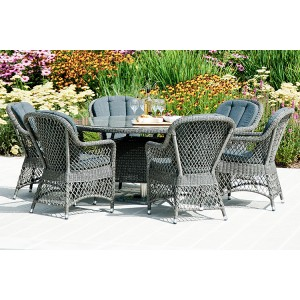 Alexander Rose Monte Carlo Garden 6 Open Weave Chair Round Dining Set
