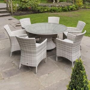 Alexander Rose Ocean Pearl Garden 6 Wave Armchair Round Dining Set