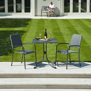 Alexander Rose Portofino Garden 2 Woven Chair Square Bistro Set