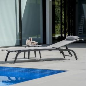 Alexander Rose Portofino Garden Adjustable Stacking Sunbed & Side Table
