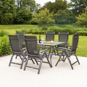 Alexander Rose Portofino Garden 145cm Dining Table & 6 Folding Recliner