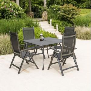 Alexander Rose Portofino Garden 1.1m Square Table & 4 Folding Recliner