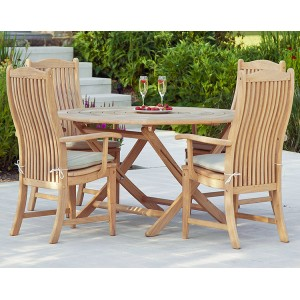 Alexander Rose Roble Garden 4 Bengal Chair & Folding Round Table Set