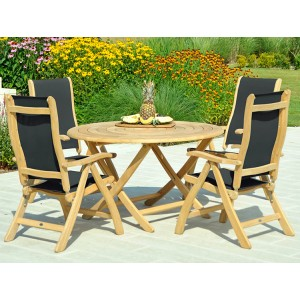 Alexander Rose Roble Garden 4 Charcoal Sling Chair & Folding Table